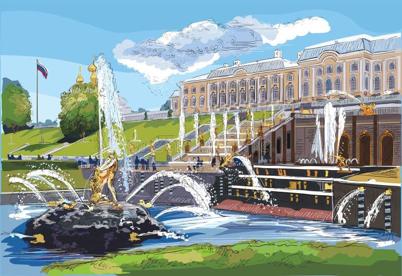Mano variopinta di vettore che disegna St Petersburg 7 royalty illustrazione gratis