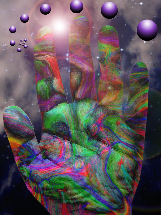 Mano vibrante del color ilustración del vector