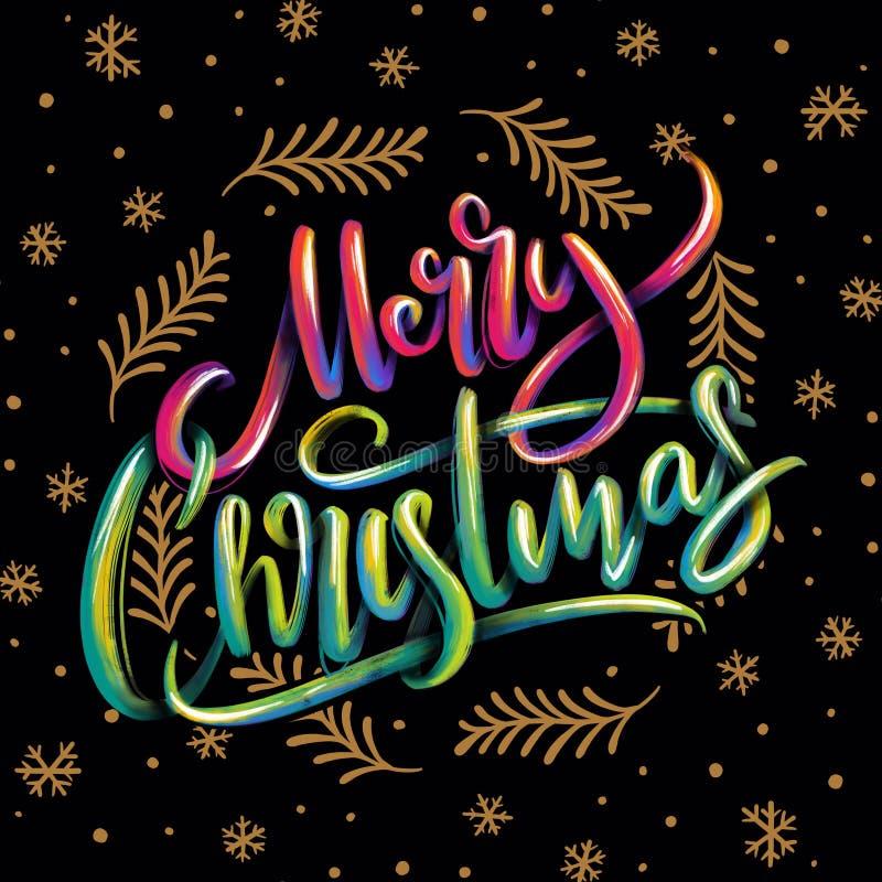Mano vibrante que pone letras al fondo de saludo de la Feliz Navidad stock de ilustración