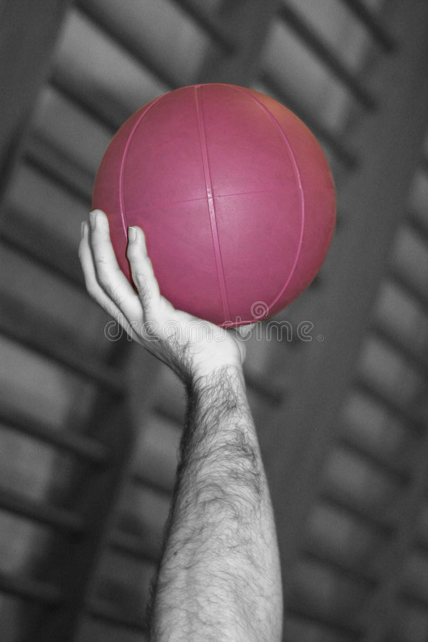 Mano y bola púrpura foto de archivo libre de regalías