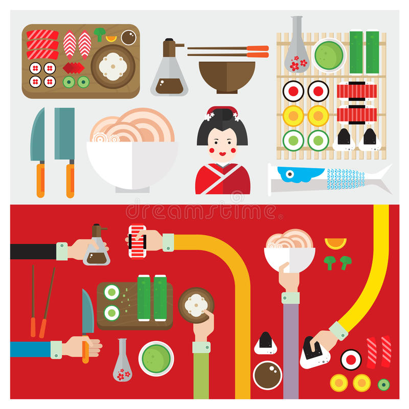 Mano y brazo determinados del símbolo de Japón de la comida del sushi del vector libre illustration