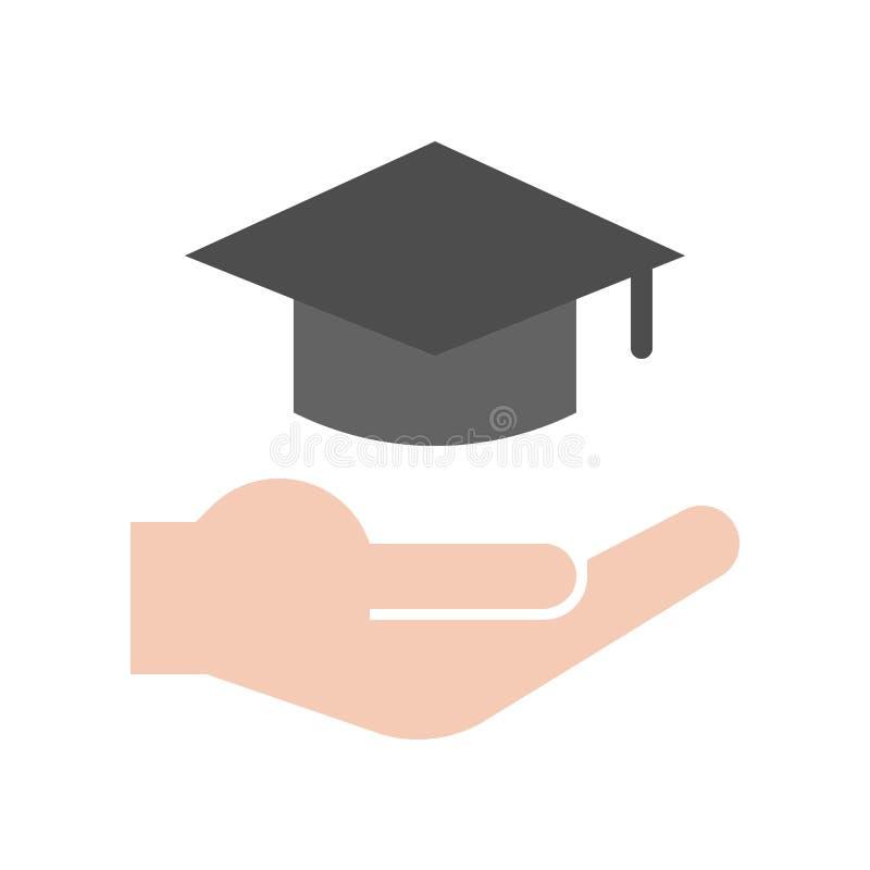 Mano y casquillo de la graduación, sistema del icono de la educación ilustración del vector