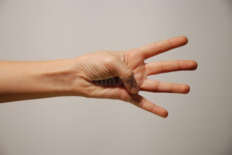 Mano y cuatro dedos ampliados imagen de archivo libre de regalías