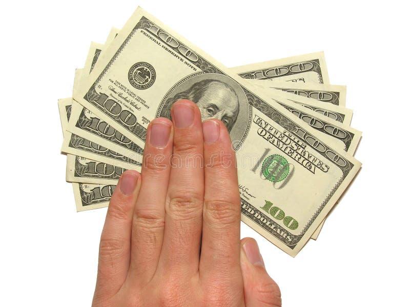 Mano y dólares imágenes de archivo libres de regalías