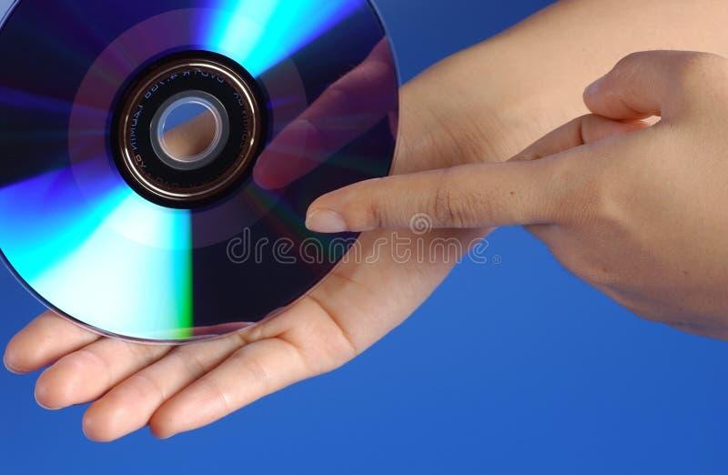 Mano y DVD fotografía de archivo libre de regalías