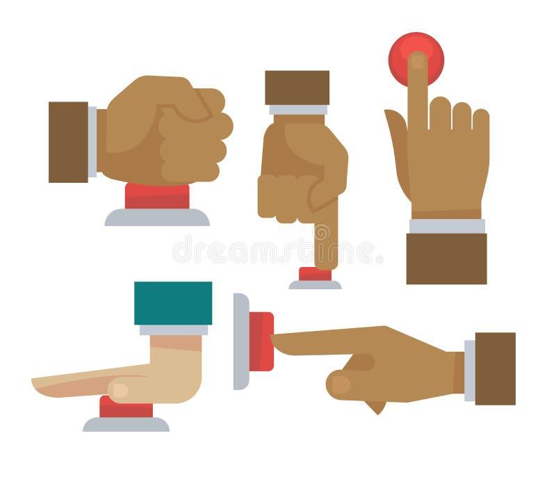 Mano y finger en los iconos planos del vector del botón rojo fijados libre illustration