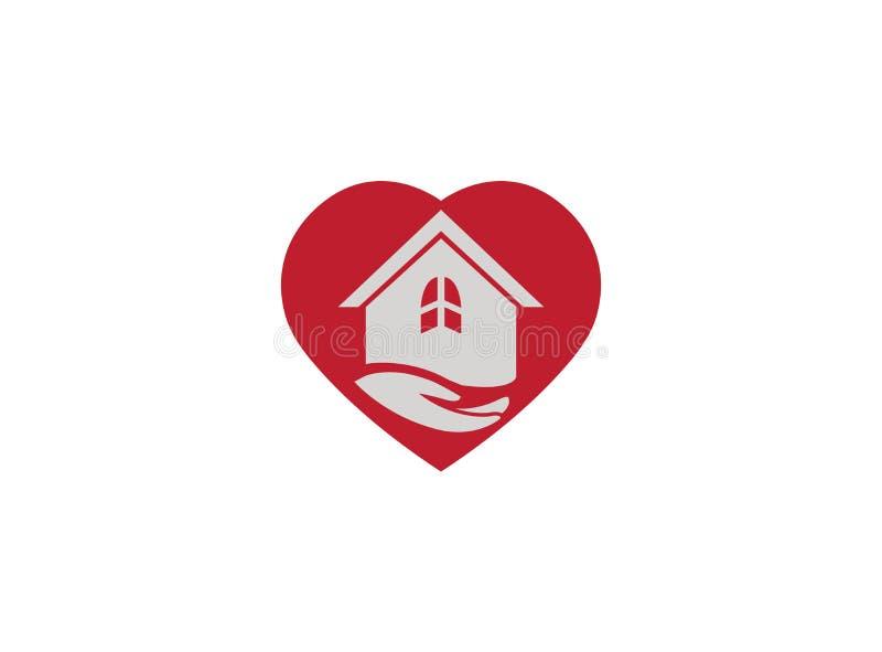 Mano y hogar en el corazón para el ejemplo del diseño del logotipo ilustración del vector