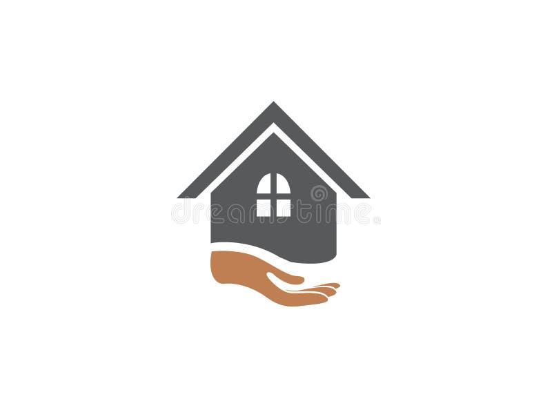 Mano y hogar para el ejemplo del diseño del logotipo stock de ilustración