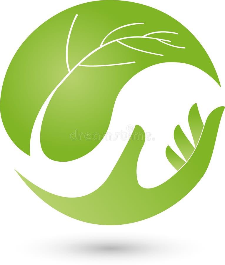 Mano y hoja, planta, salud y logotipo naturopathic stock de ilustración