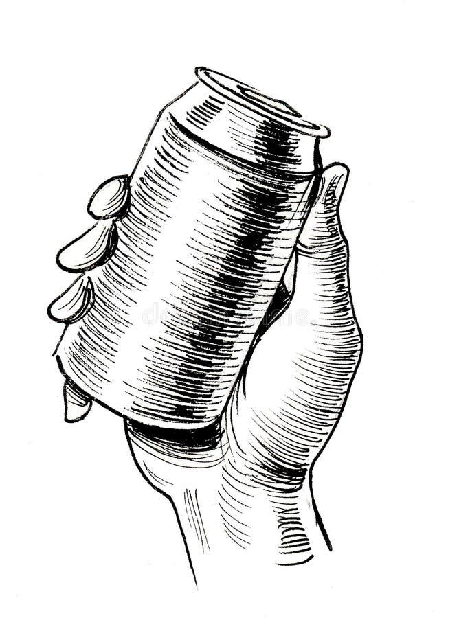 Mano y lata de cerveza stock de ilustración