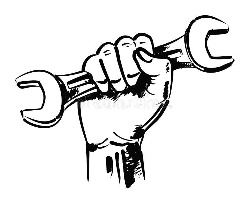 Mano y llave ilustración del vector