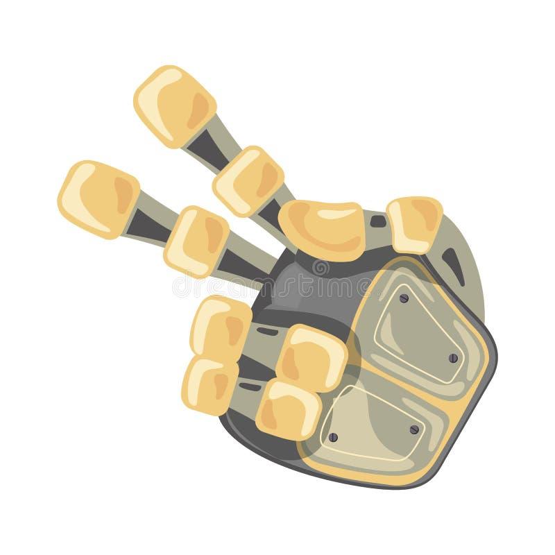 Mano y mariposa del robot Símbolo mecánico de la ingeniería de la máquina de la tecnología Gestos de mano Dos puntero second Dise ilustración del vector