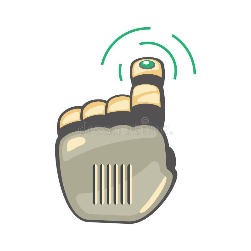 Mano y mariposa del robot Símbolo mecánico de la ingeniería de la máquina de la tecnología Gestos de mano Encima de puntero presi libre illustration