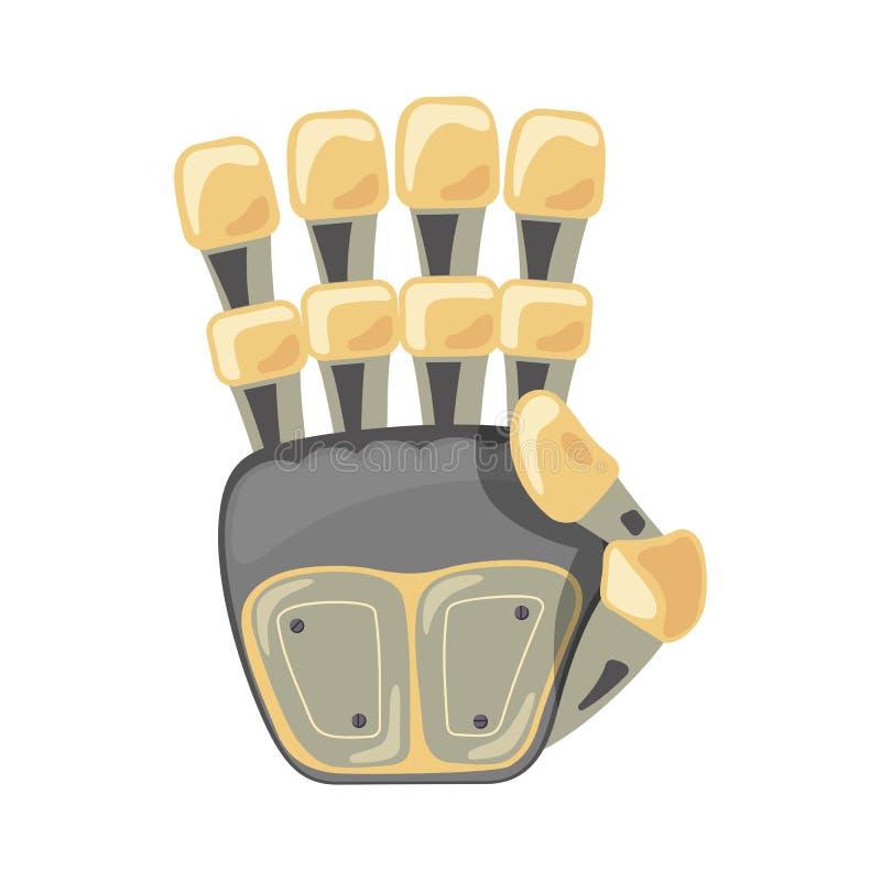 Mano y mariposa del robot Símbolo mecánico de la ingeniería de la máquina de la tecnología Gestos de mano Número cuatro cuarto Di ilustración del vector