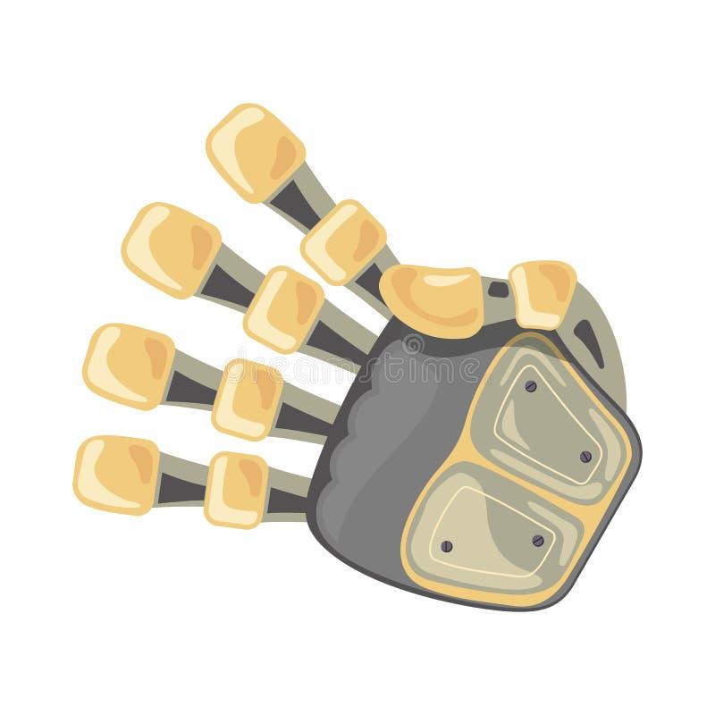 Mano y mariposa del robot Símbolo mecánico de la ingeniería de la máquina de la tecnología Gestos de mano Número cuatro cuarto Di libre illustration