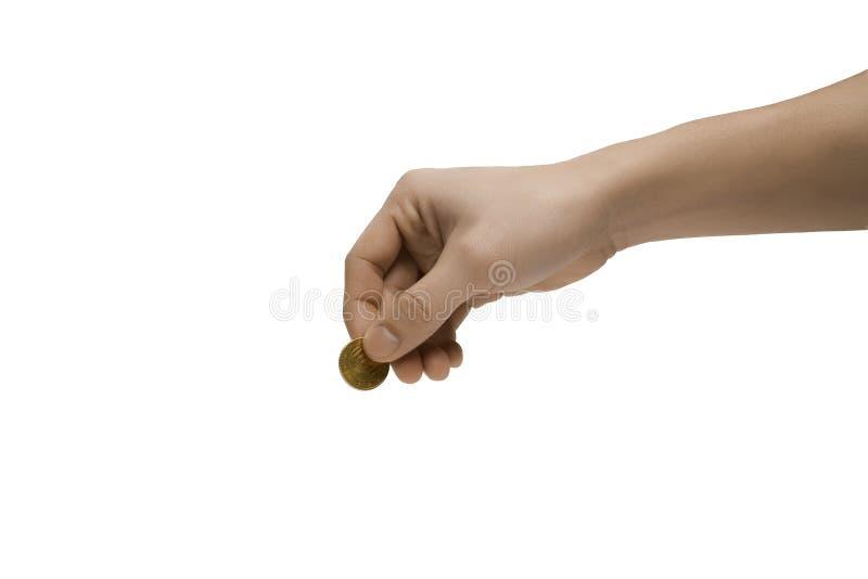 Mano y moneda euro foto de archivo libre de regalías