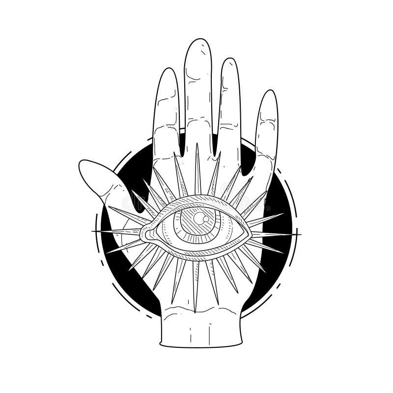 Mano y ojo divinos misteriosos de la providencia, ejemplo monocromático exhausto del vector de la mano oculta esotérica del símbo libre illustration