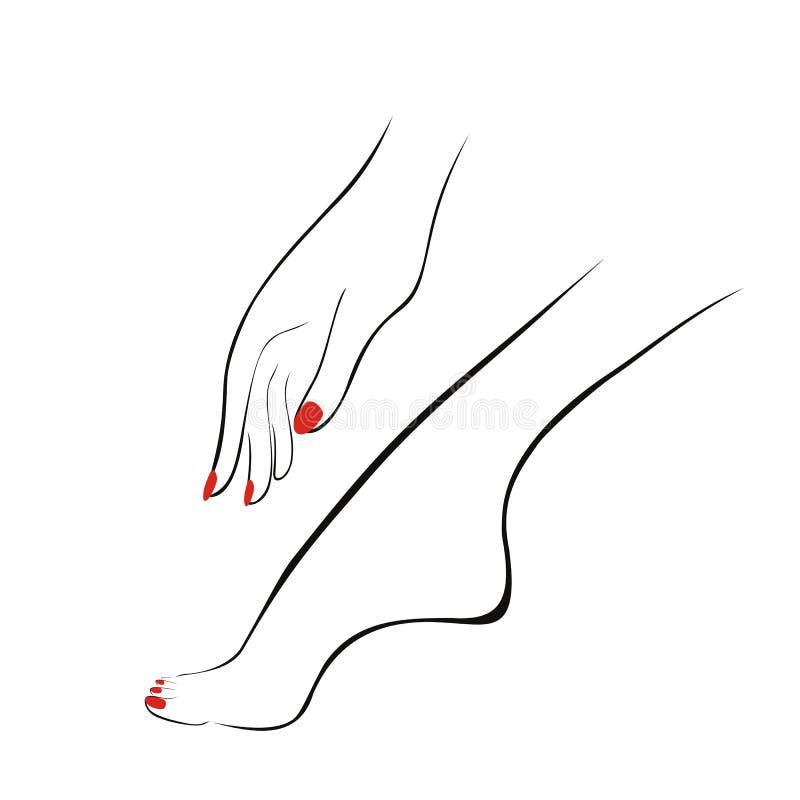 Mano y pierna femeninas con los clavos rojos, manicura, pedicura logotipo ilustración del vector