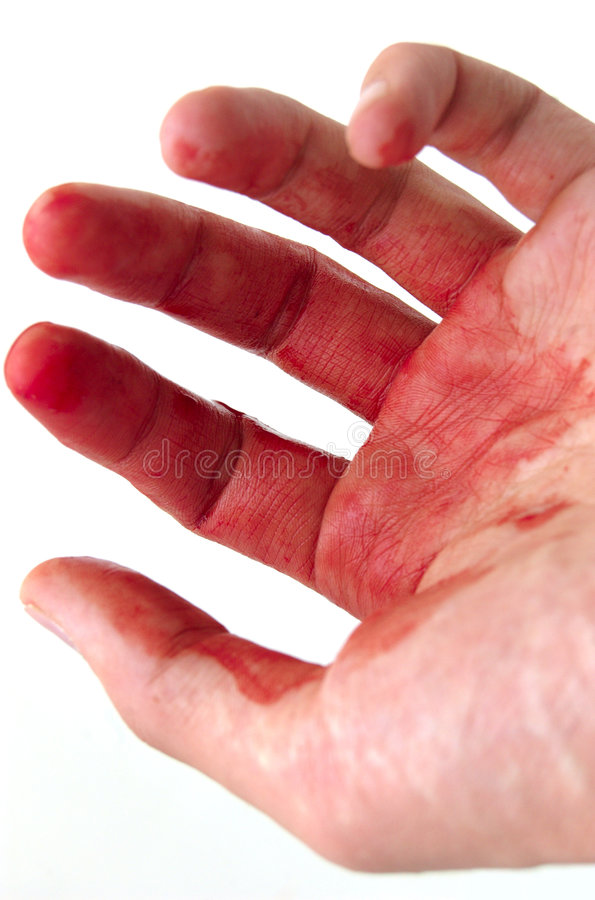 Mano y sangre imagenes de archivo