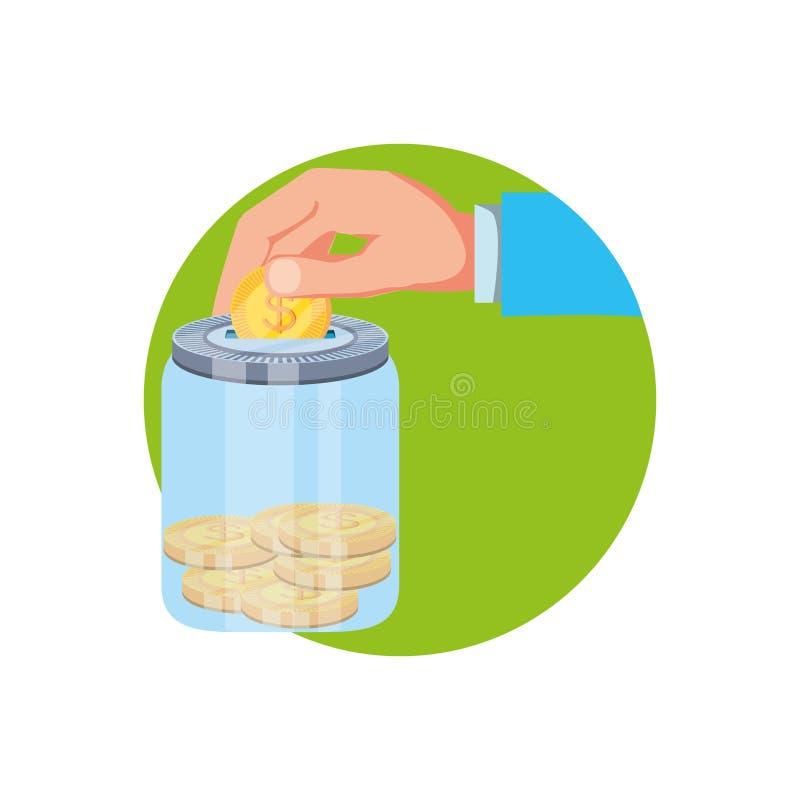 Mano y tarro de ahorro con las monedas del dinero stock de ilustración