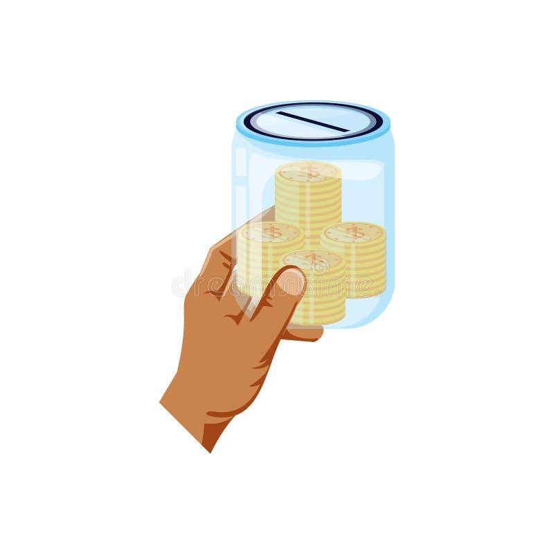 Mano y tarro de ahorro con las monedas del dinero ilustración del vector