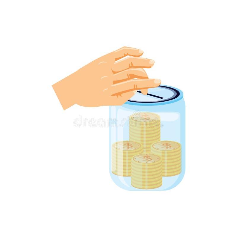 Mano y tarro de ahorro con las monedas del dinero libre illustration