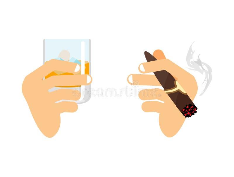 Mano y whisky con hielo vidrio de escocés, borbón Brazo con el ci ilustración del vector