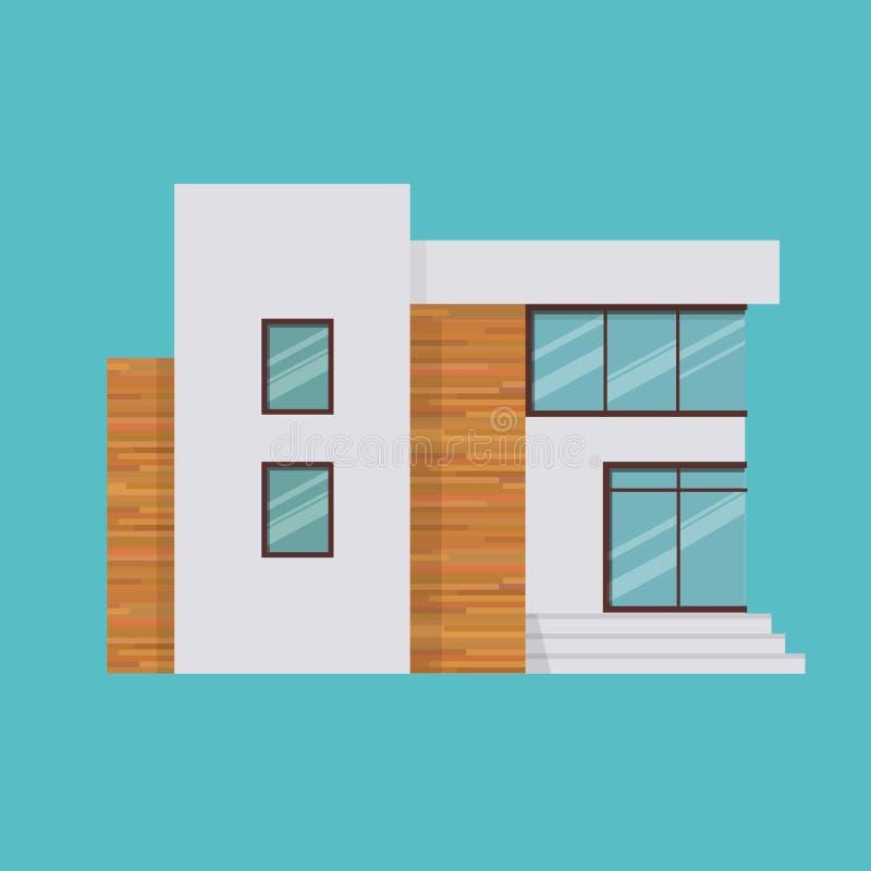 Manoir à deux étages moderne dans le style cher, maison de campagne pour le repos illustration de vecteur