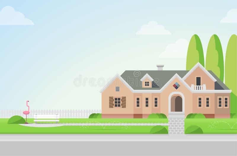 Manoir de campagne avec l'arrière-cour dans le style plat de vecteur illustration de vecteur