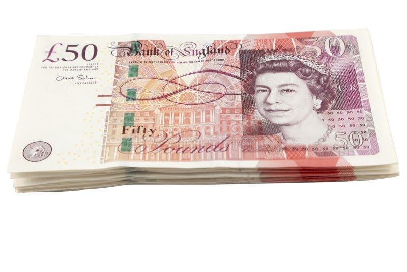 Manojo británico del billete de banco de la libra esterlina foto de archivo
