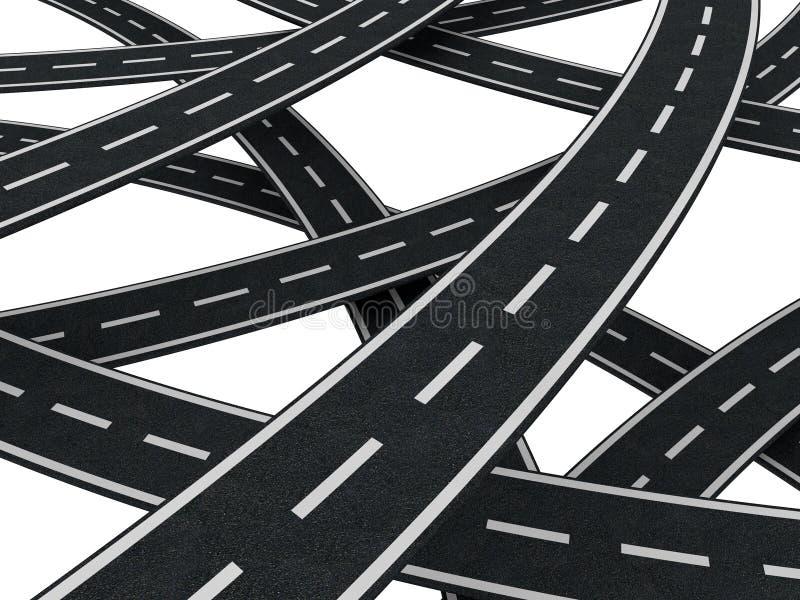 Caos de muchos caminos ilustración del vector