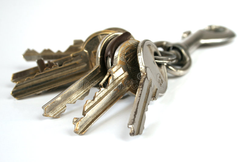 Manojo de claves aislados imagen de archivo libre de regalías