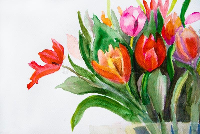 Manojo de flores de los tulipanes ilustración del vector