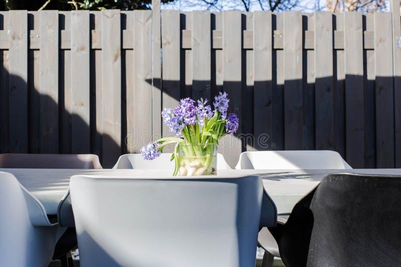Manojo de flores púrpuras en florero en la tabla del jardín, jardín soleado colorido foto de archivo