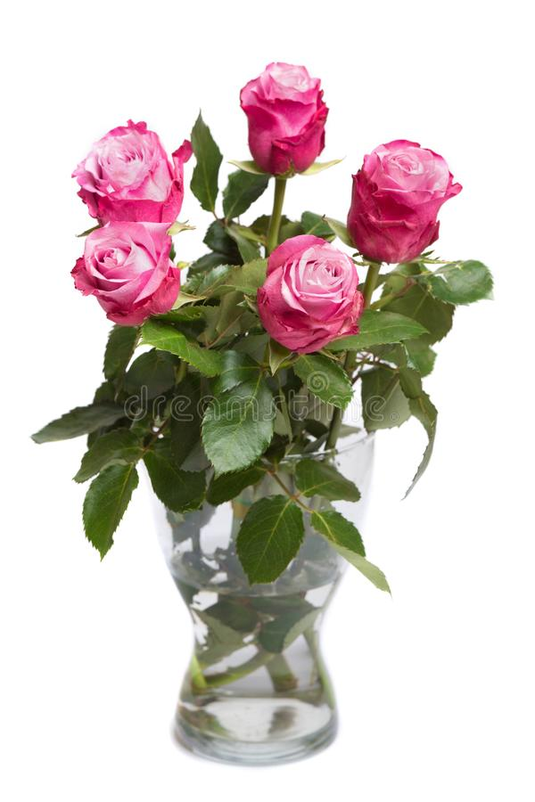 Manojo de flores rosadas en el florero de cristal aislado en blanco foto de archivo