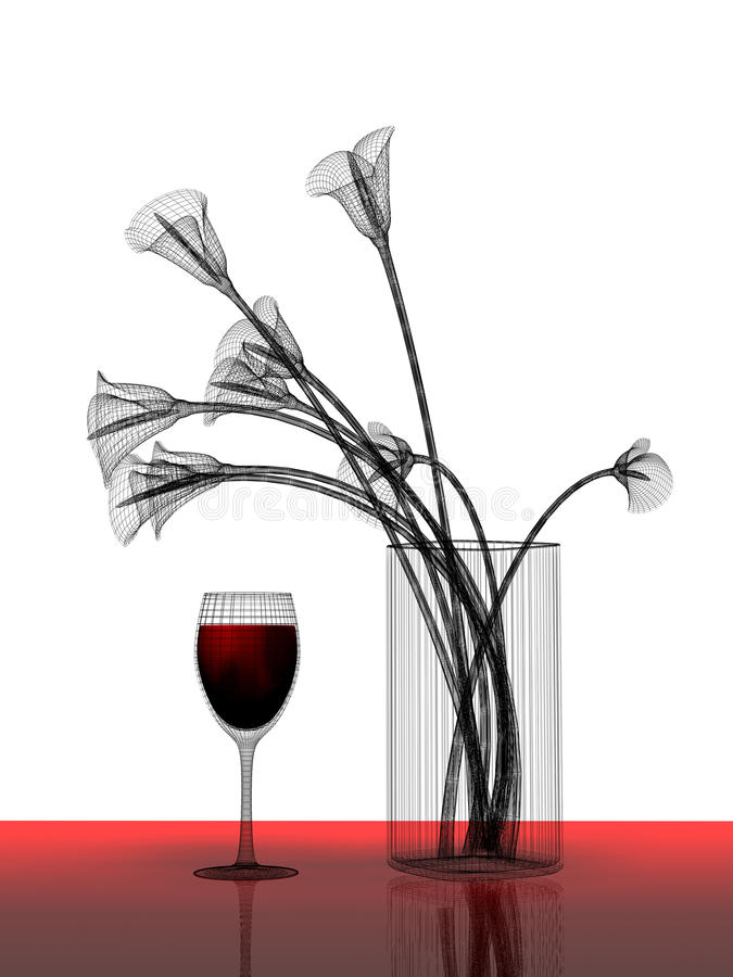 Manojo de flores y de vidrio de vino ilustración del vector