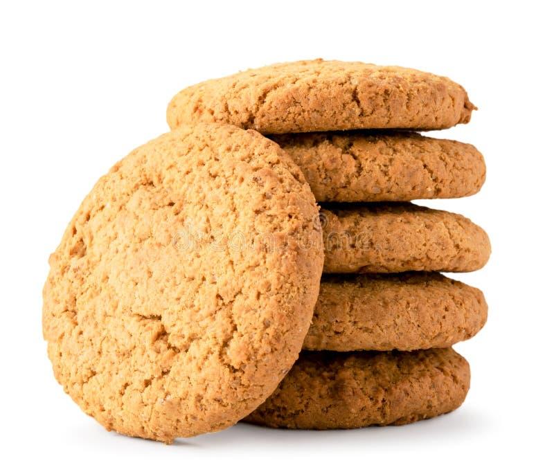 Manojo de galletas de harina de avena cerca - para arriba en un fondo blanco Aislado foto de archivo libre de regalías