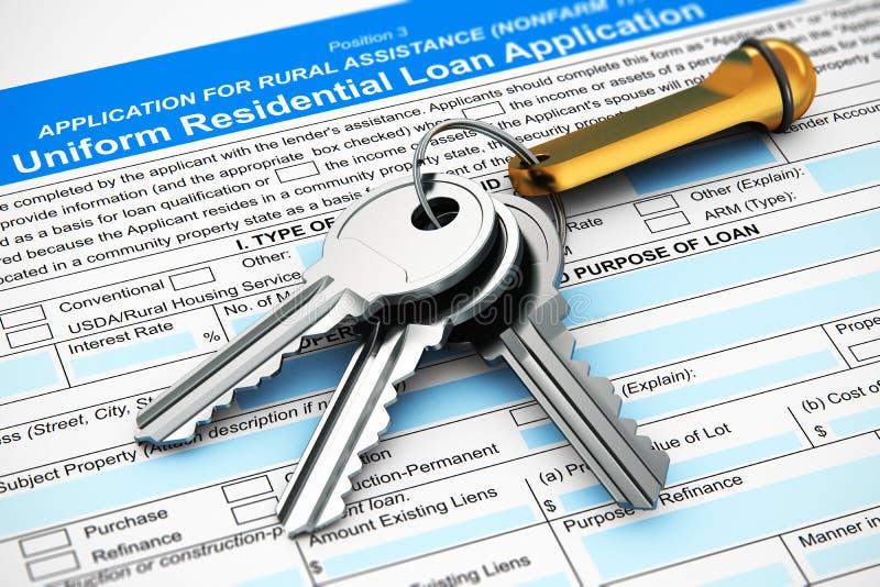 Manojo de llaves de la casa en formulario de inscripción de la hipoteca o de préstamo stock de ilustración