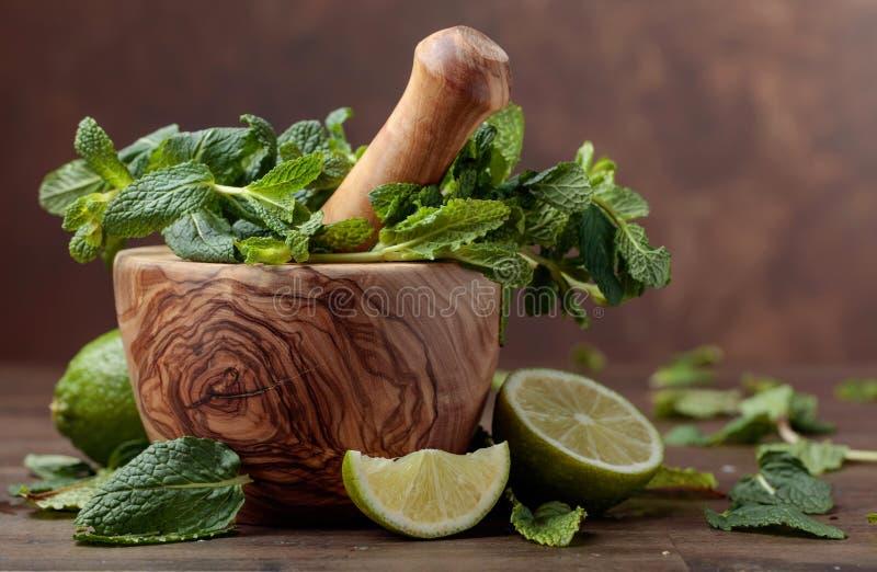 Manojo de menta y de cal org?nicas verdes frescas imagenes de archivo