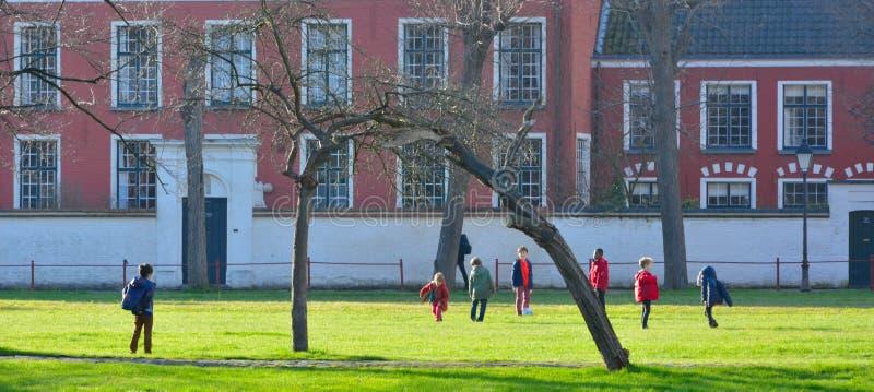 Manojo de niños que juegan a fútbol en un jardín fotos de archivo