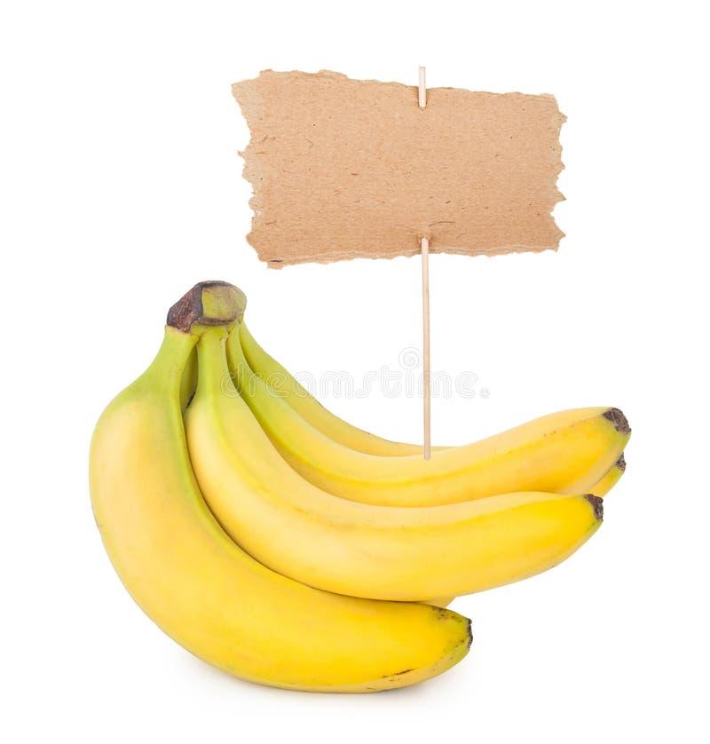 Manojo de plátanos con la etiqueta foto de archivo