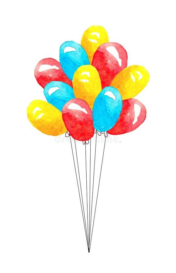 Manojo de rojo coloreado, globos azulesdel andamarillo con las cuerdas rectas aisladas en la acuarela blanca del fondo ilustración del vector
