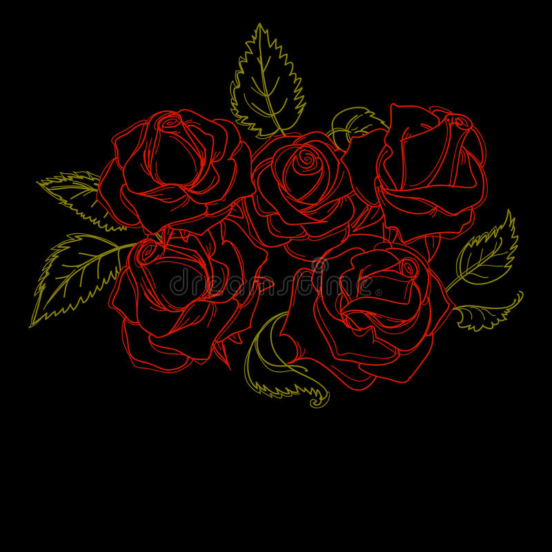 Manojo de rosas stock de ilustración