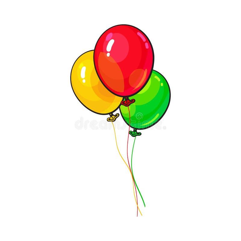 Manojo de tres brillantes y de globos coloridos ilustración del vector