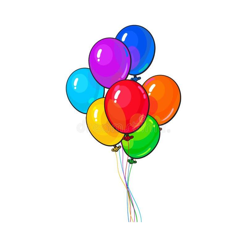 Manojo de tres brillantes y de globos coloridos libre illustration
