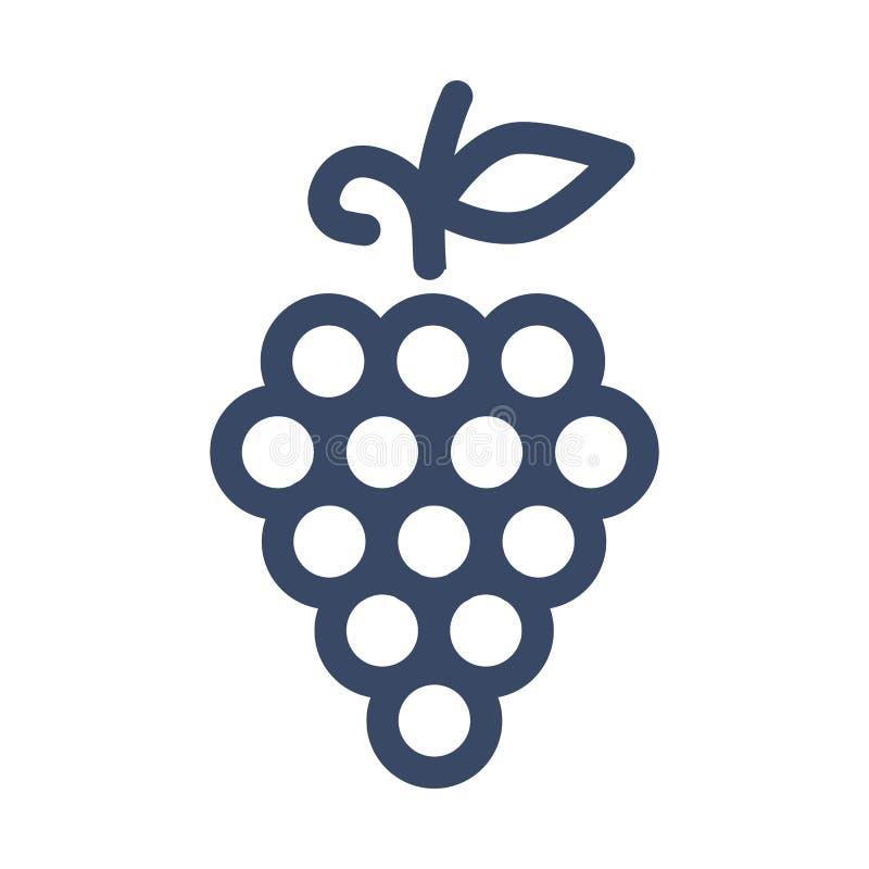 Manojo de uvas con las hojas Icono plano simple de la baya dulce - vector libre illustration