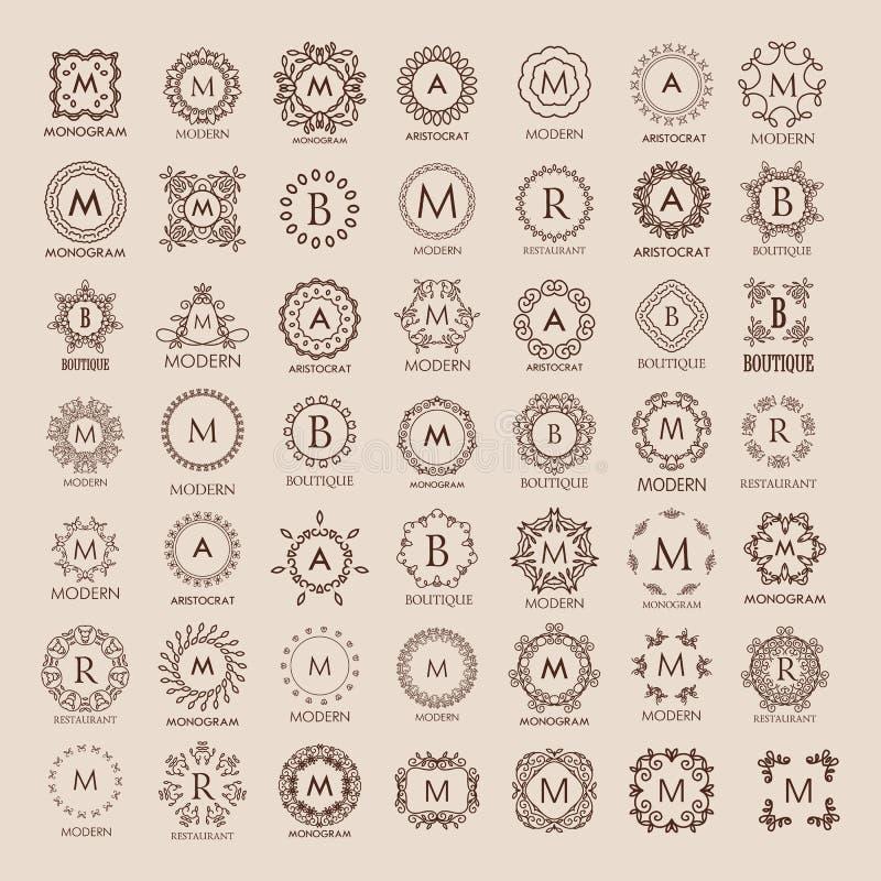 Manojo grande de plantillas del lujo, simples y elegantes del monograma del diseño stock de ilustración