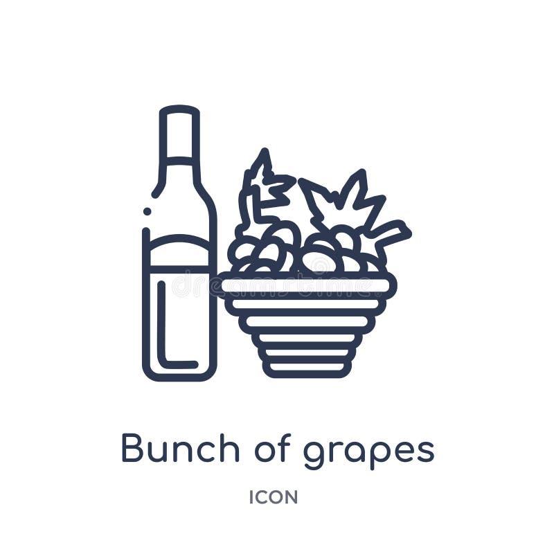 Manojo linear de icono de las uvas de la colección del esquema de las bebidas Línea fina manojo de vector de las uvas aislado en  ilustración del vector