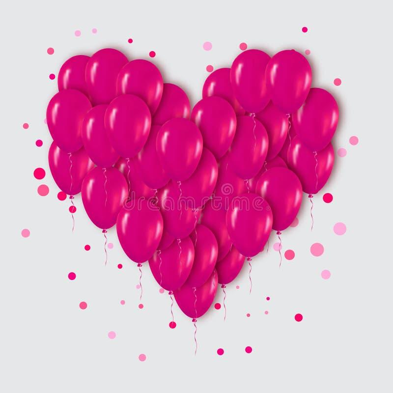 Manojo realista del corazón del rosa 3d de globos que vuelan para el partido stock de ilustración