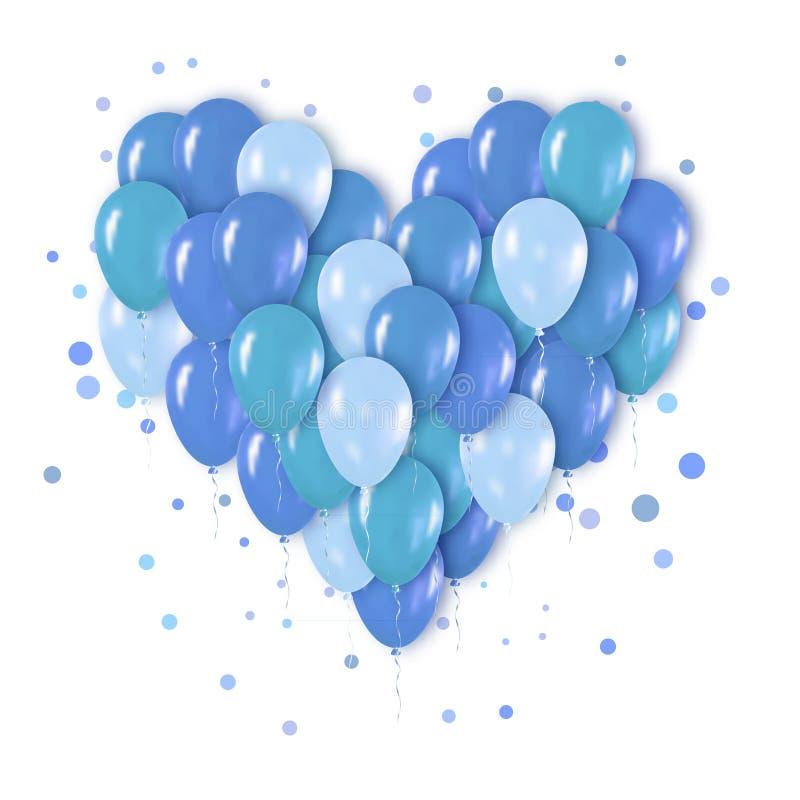 Manojo realista metálico azul del corazón 3d de globos libre illustration